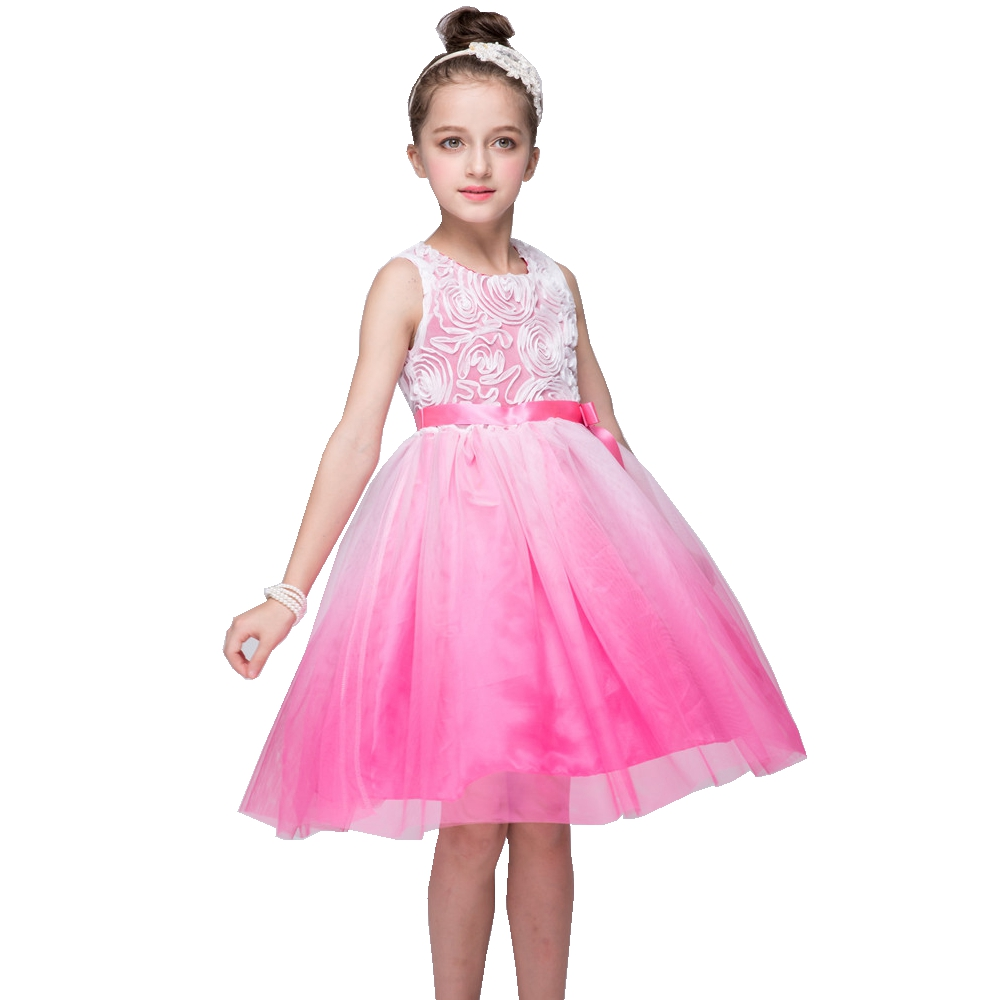 Chiffon Flower Kids Infant Girls Dress Children Bridesmaid Toddler Elegant Dresses Pageant ...