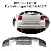 FRP Black Auto Rear Bumper Lip Diffuser For Volkswagen Polo 2014-2017 Car Styling