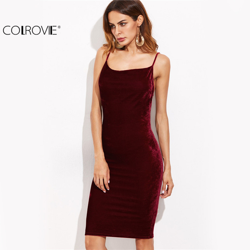 b23931630e COLROVIE Burgundy Velvet Cami Bodycon Dress Autumn Women Party Dress Sexy  Club Dresses Elegant Ladies Backless Sheath Midi Dress