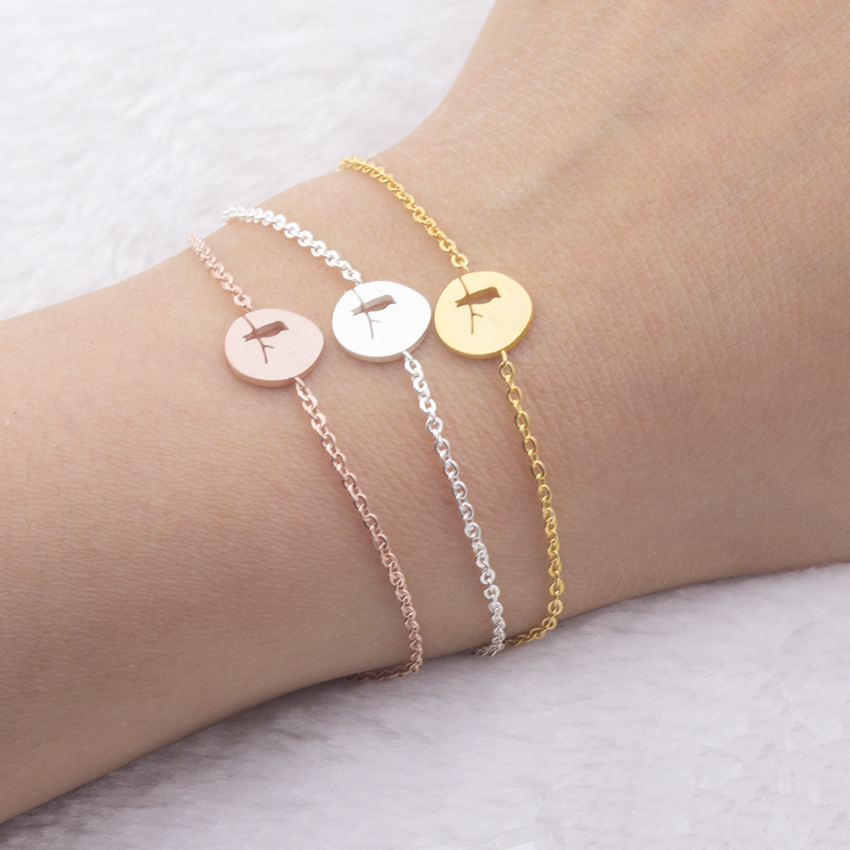 Dainty Artisan Charm Bird On Branch Bracelet For Women Bff Jewelry Armbanden Stainless Steel Best Friend Gifts Bracelets Femme
