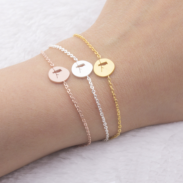 Dainty Stainless Steel Bracelet Femme Rose Gold Round Cut Out Bird Bracelets For Women 2019 Love Jewelry Best Friend Gifts Bff