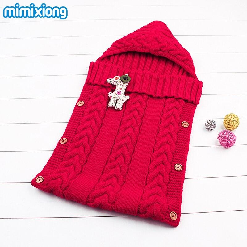 Winter Newborn Kids Toddler Knit Blanket Swaddle <font><b>Sleeping</b></font> Bag Sleep Sack Fall Outdoor Stroller Wrap for 0-12 Month Baby Boy Girl