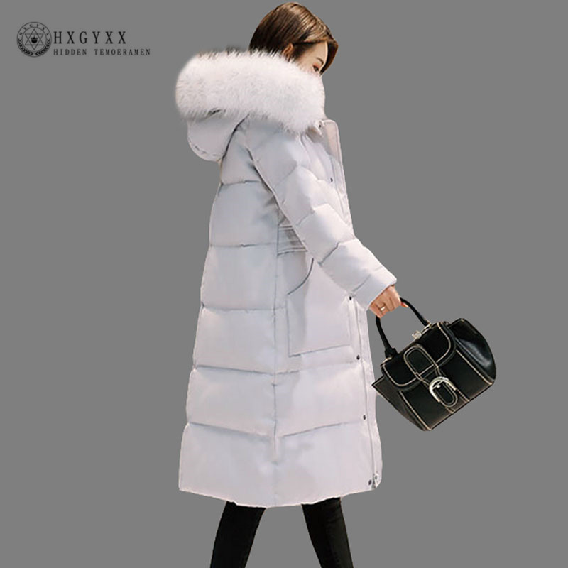 White Duck   Down   Jacket Women Goose Feather   Coat   Long Winter Hooded Fur Fashion Parka Femal Thick Warm Outerwear 2019 Okd364