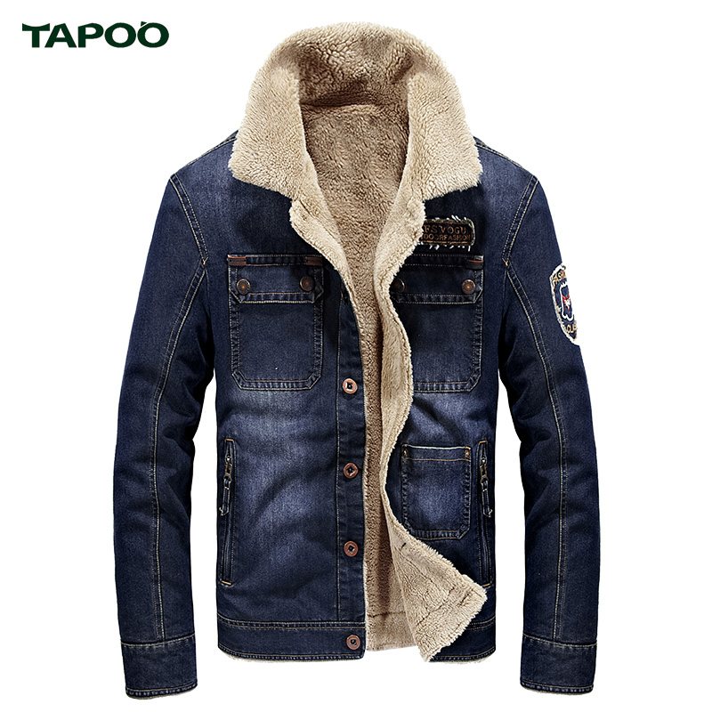 Tapoo Men s Jackets 2017 Spring Autumn Stand Collar Demin Plus Cashmere Bule Casual Solid Long