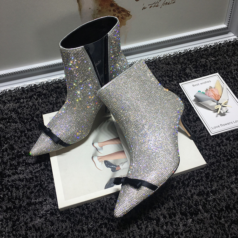 Hot 6 Bowtie Silver Talon Chic Piste Fix Cm Bottines Strass Mode De Chaussons Pointer Court Nouveau Mince Femmes 8zTqXXv