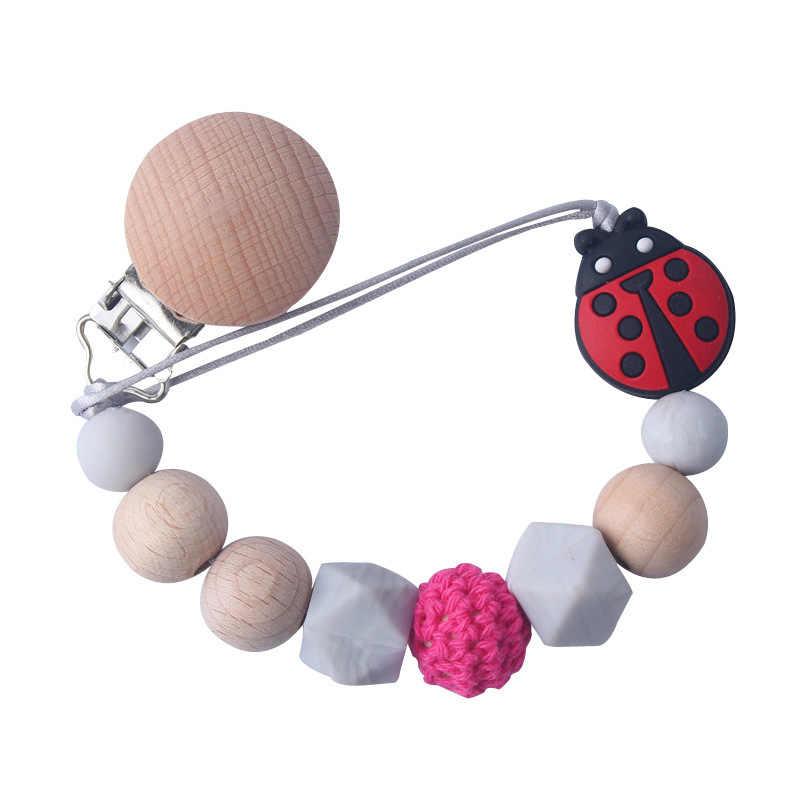 Holz Perlen Silikon Bead Baby Schnuller Kette Clip Clips Holz Attache Sucette Häkeln Dummy Schnuller Schnuller Halter