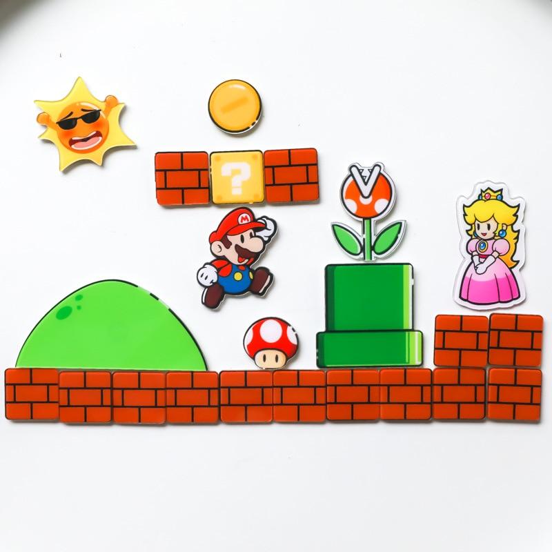 Nintendo Super Mario Bros магниты на холодильник стикер сообщений смешные девочки мальчики для малышей детей студентов игрушки подарок на день рождения