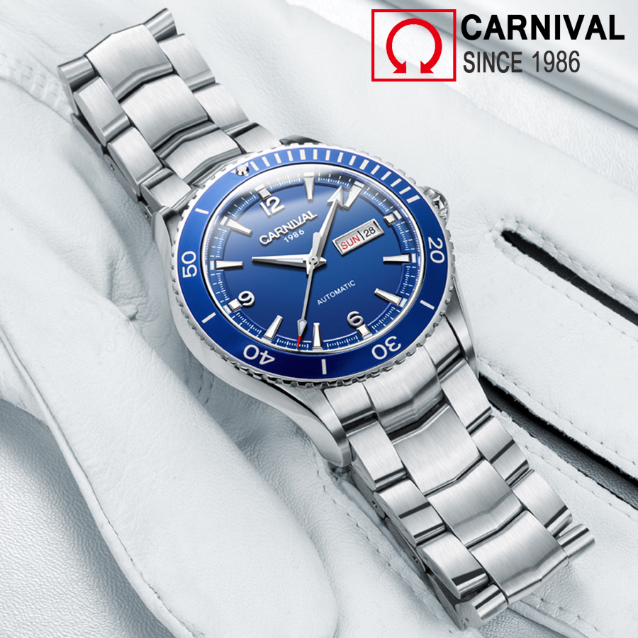 Carnival 50M Waterproof Diver Automatic Watch Men Sport Mechanical Watches Sapphire Crystal Luminous Hands Mens Clock relogio