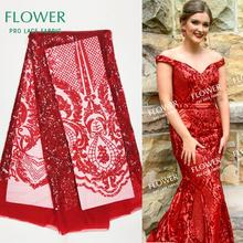 Красный цвет, расшитый блестками гипюр, сетка, тюль, кружево, свадебные ткани, высокое качество, модное Африканское нигерийское платье для выпускного вечера, кружево