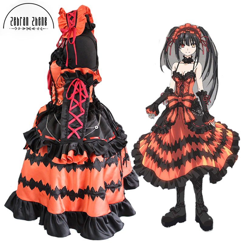New Arrival Date A Live Cosplay Costume Tokisaki Kurumi Hallween Party Costume Dress  For Women Girl Custom Made