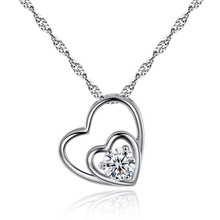 Silikolove 1pcs  Silver Color Heart-shaped zircon  Jewelry necklace Classic arrow double heart pendant necklace Collar colgante classic heart pendant