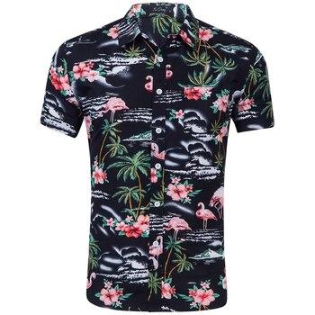 NOVEDAD DE VERANO 2019, Código europeo y americano, camisa de manga corta para hombre, dibujo de flamenco, flor triturada, blusa para hombre, camisas de playa