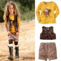 New Spring Autumn Fashion kids girls' long sleeve shirt + vest + pants 3pcs clothing set Girls Suits