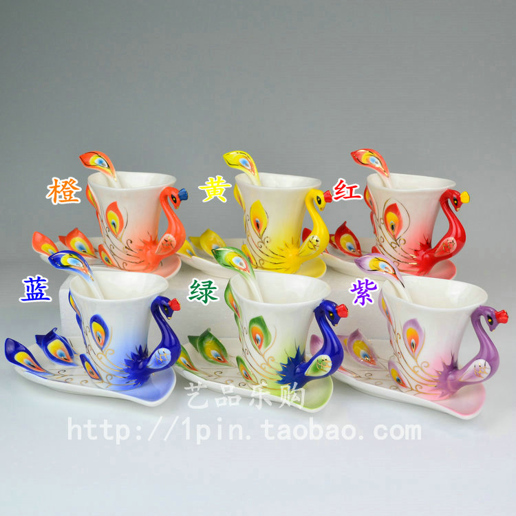 Pure handmade Teachers day gift porcelain enamel peacock cup ...
