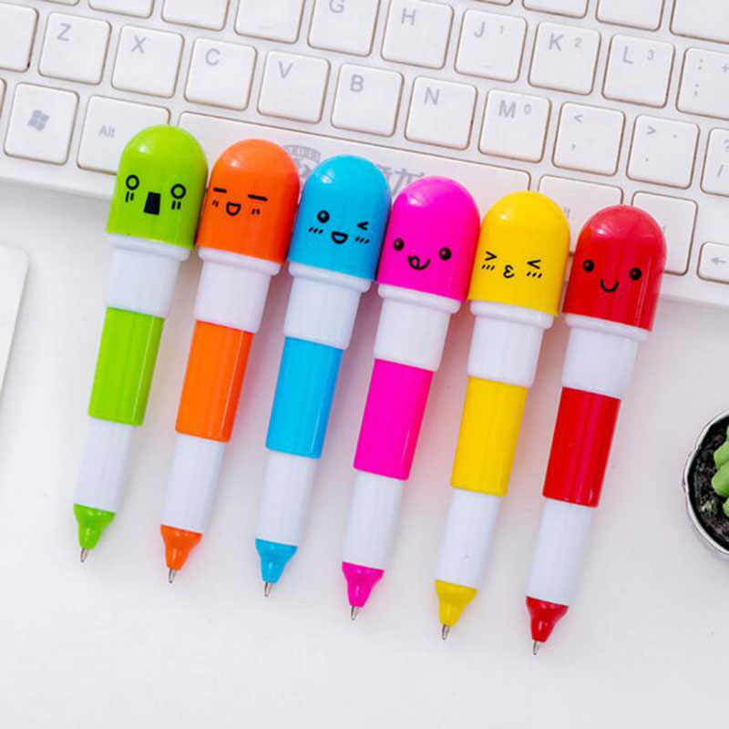 1 pc חמוד קריקטורה כדורי כמוסה יצירתי Kawaii כדורי עט ילדי כתיבה ספר מכתבים ציוד משרדי