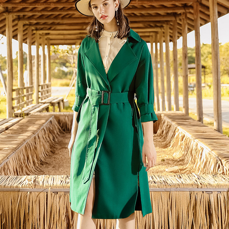 2018 New Autumn   Trench   Coat Women Long Elegant Outwear Female Overcoat Slim