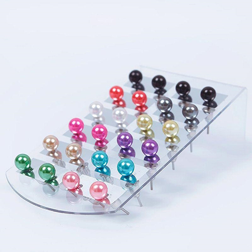 12 Pair Ear Stud Faux Pearl Round Ball Earrings Set