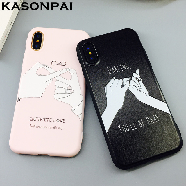 factory price 33e6b fe239 US $3.35 |KASONPAI Cartoon Letter Couples Phone Case For iphone X Case Cute  Finger Promise Back Cover Candy Color Lovers Cases For iphoneX-in Fitted ...