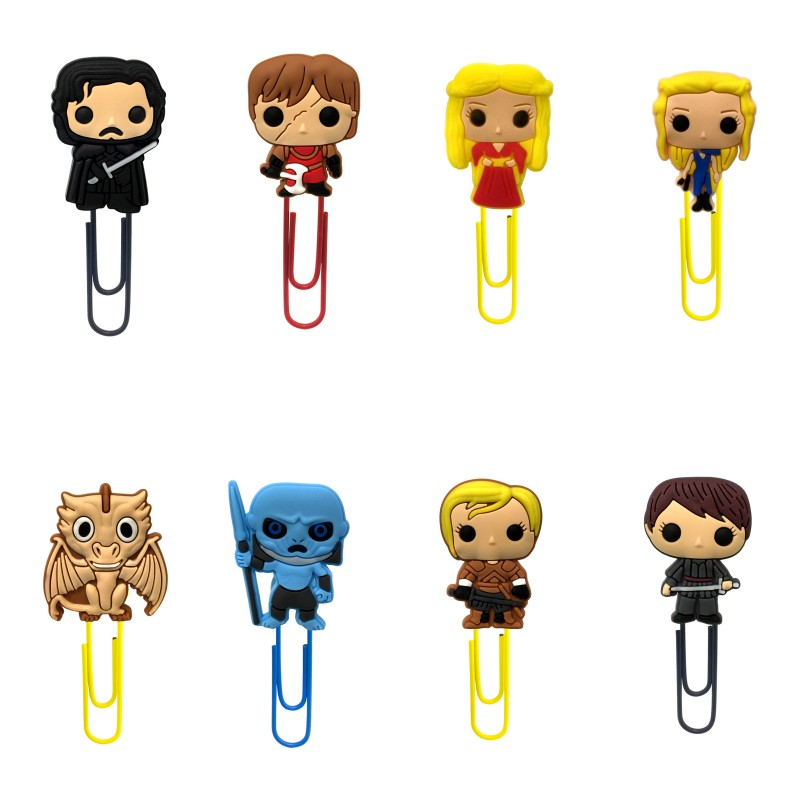 8pcs Hot Movie Game Of Thrones Cartoon Bookmarks For Kids Paper Clip Page Holder Office School Supplies Stationery Gifts