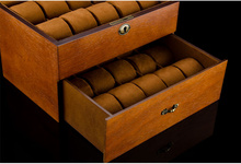 MEI 2 Layers Watch Storage Box Brown Wood Watch Display Case With Lock Men's Quartz Watch Jewelry Gift Boxes  W083