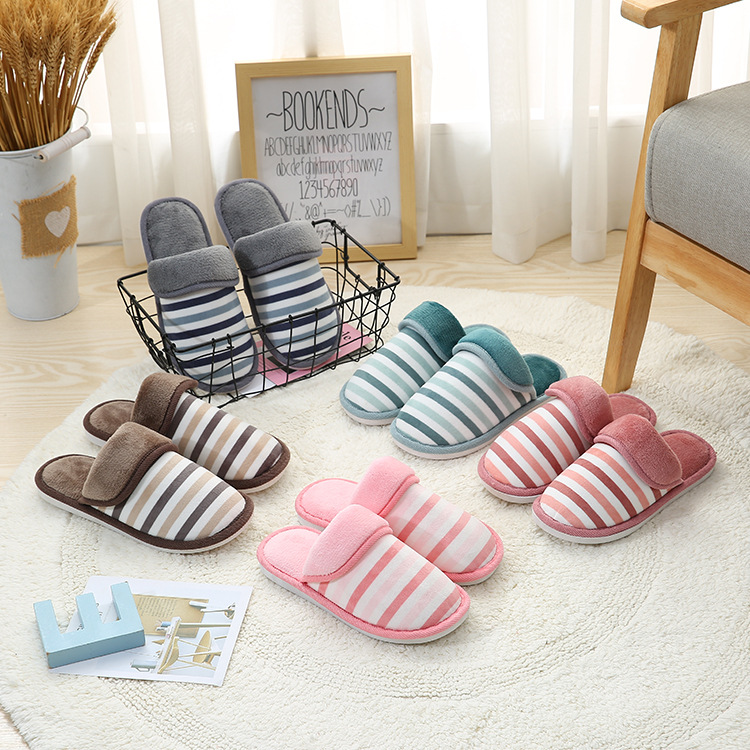 Cotton slippers, new winter Korean style, fresh striped slippers, couple's home warm slippers.(China)
