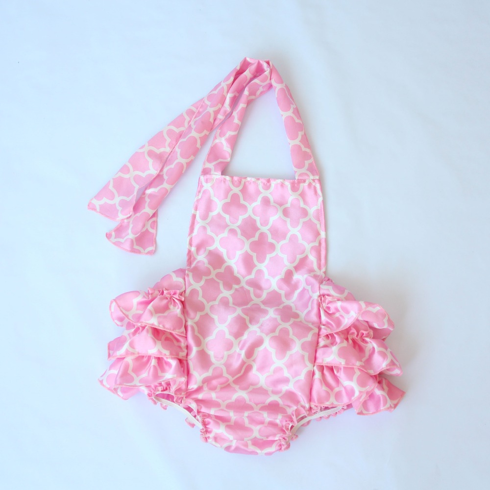 da87e09e0a40 Cute Baby Girls Rompers Pink Satin Jumpsuit Toddler Girls Ruffle Romper  Baby Birthday Party Clothing Photography Props Costume-in Rompers from  Mother   Kids ...
