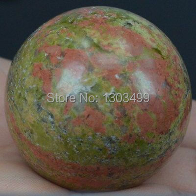 40MM přírodní drahokam Unakite Sphere Crystal Ball Chakra Healing Reiki Stone Carving Crafts W / Stand