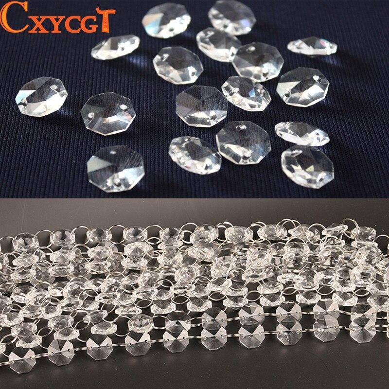 Гирлянда алмаз K9 кристалл Восьмиугольные бусины занавес из бусин кулон освещение для Кулон DIY Украшение дома 5 м 14 мм