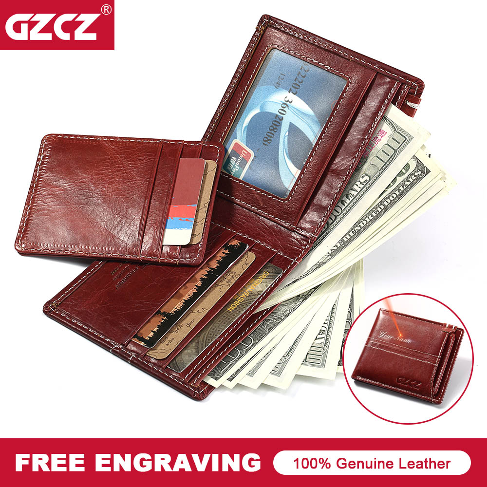 GZCZ Vintage 100% Genuine Leather Women Wallet Short Bifold Lady Wallets With Photo Holder Mini Purse Clamp For Money Portomonee