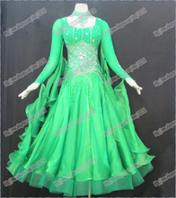 Green Modern Waltz Tango Ballroom Dance Dress, Smooth Ballroom Dress, Standard Ballroom Dress social dance clohting girl B-0223