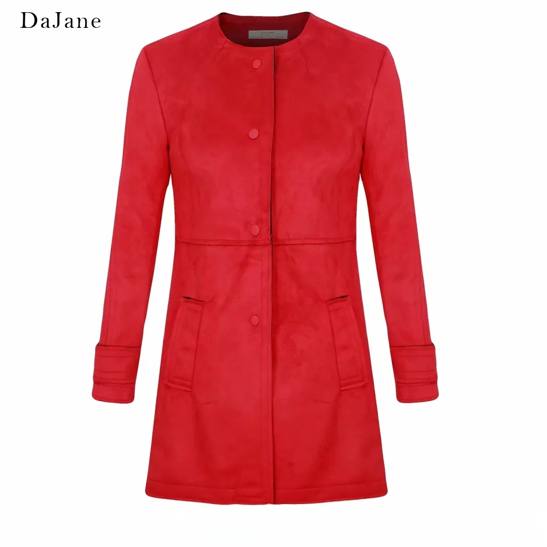 Autumn New Couple In This women's long-sleeved Long   Suede     Leather   Coat Manufacturer   Leather   Jacket Women