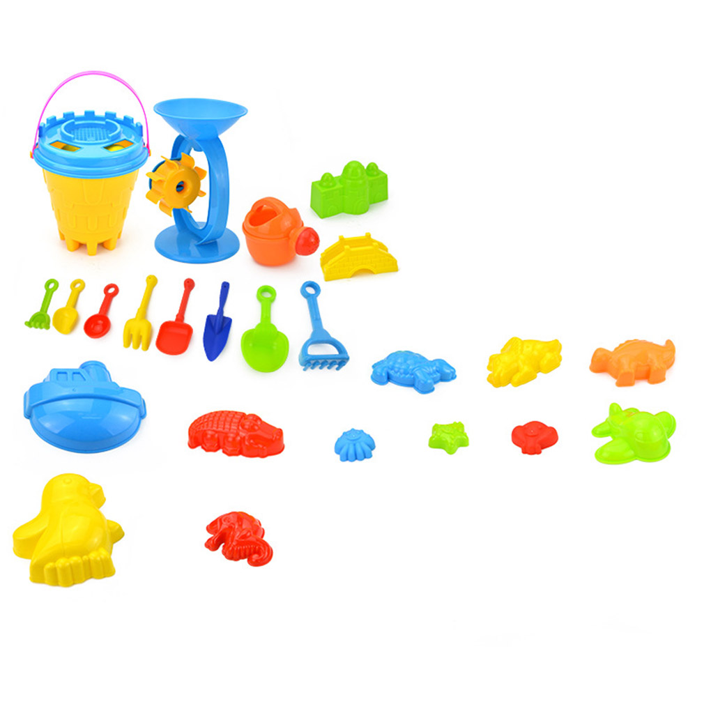 Home Imported From Abroad 25pcs/set Beach Sand Toy Funny Plastic Bathing Playing Sandbox Toys Sand Dredging Kit Children Kids Gift