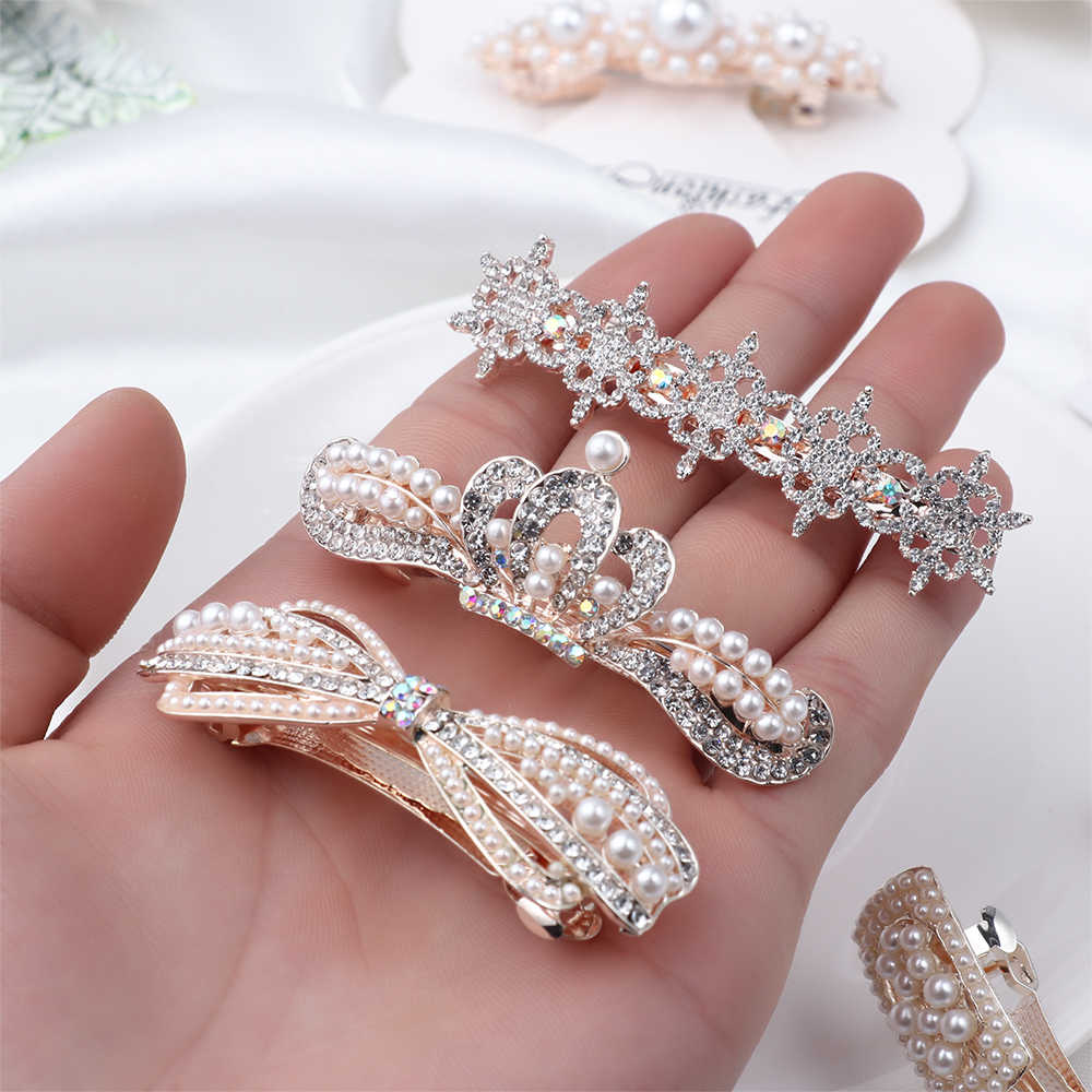 1PC Fashion Women Imitation Pearl Hair Clips Hairpins Handmade Braided White Pearl Metal Hairgrip Elegant Hair Accessories