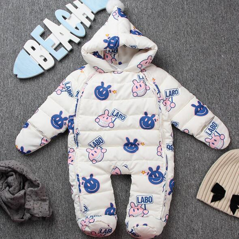 Newborn 90% White Duck Down Rompers Long Sleeves Thick Hooded Baby Clothes Package Hand Feet Or With Gloves Foot Cover 5 Colors 0cm in diameter large space baby hand footed printing mud set newborn baby hand and foot print hundred days old gift souvenir