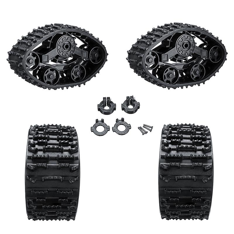 4PCS Black 4WD Replacement Caterpillar Band Track Remote