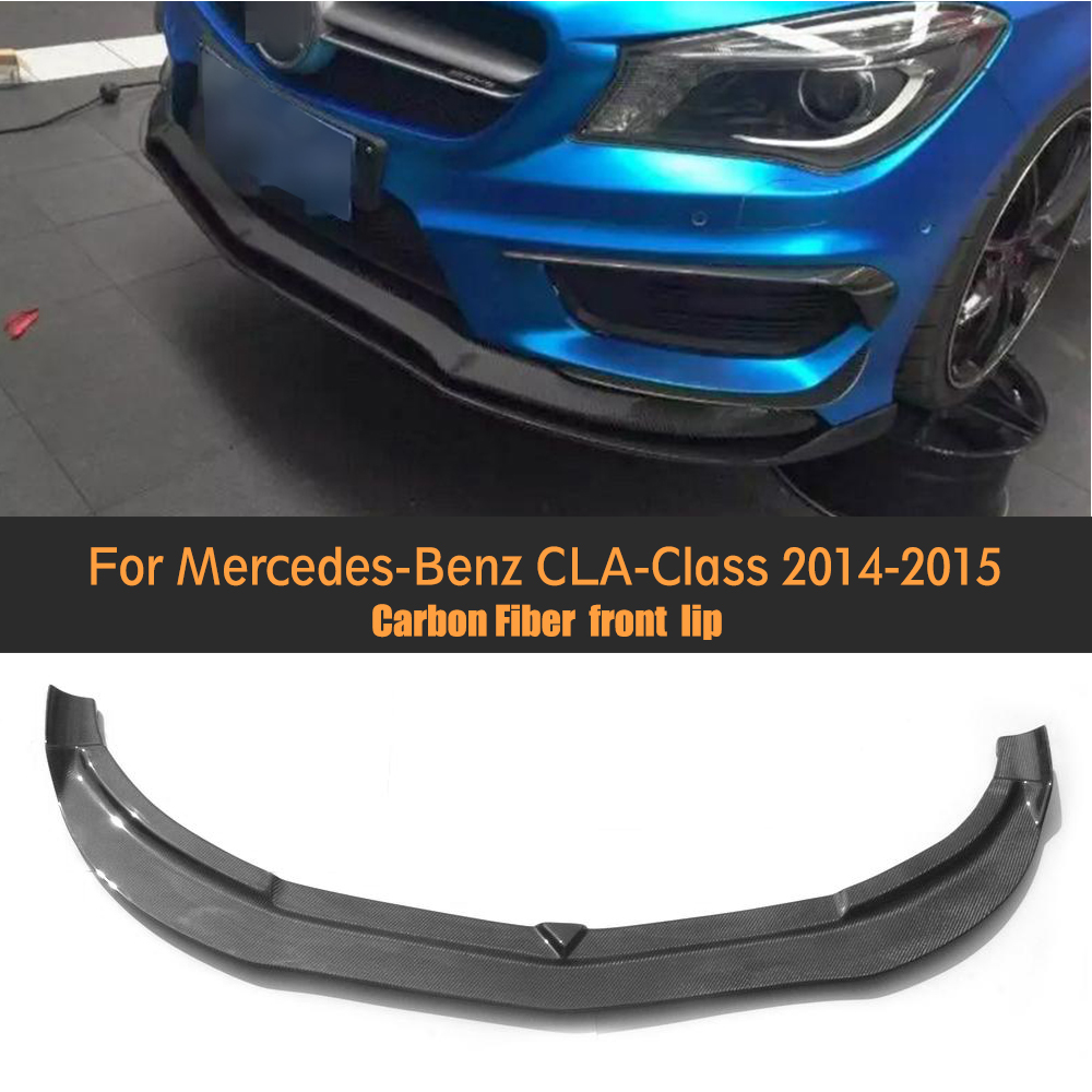 CLA carbon fiber car front lip bumper spoiler fit for Mercedes Benz C117 W117 CLA45 CLA 45 CLA45 AMG 2014 2015 for benz cla c117 w117 inner door window switch button cover 2014 2017 14pcs