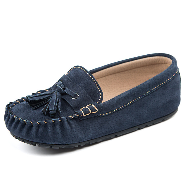 589dd8182b2 Kids Shoes Genuine Leather Boys Shoes Tassel Girls Flats Slip on Baby Loafers  Moccasins Footwear British Students Shoes 26-35