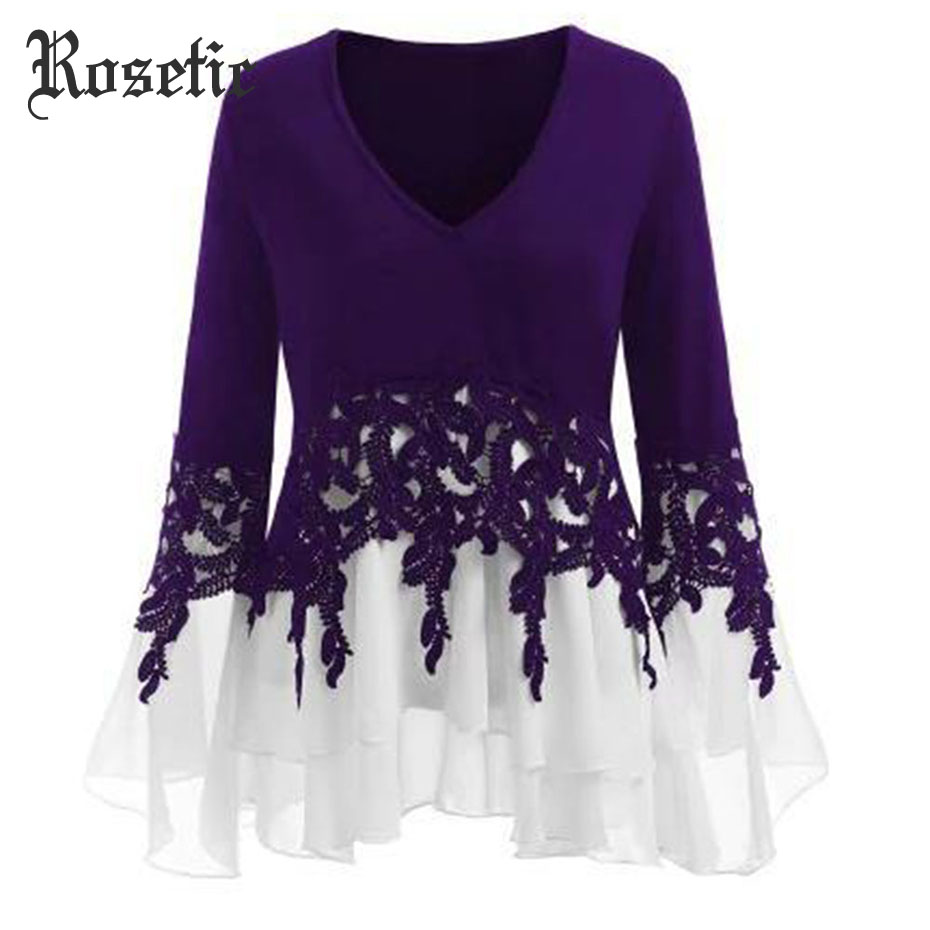 Rosetic Gothic Chiffon Lace Patchwork Women Blouse Autumn 2018 New Fashion V-Neck Three-Quarter Sleeve Chic Casual Girl Blouses