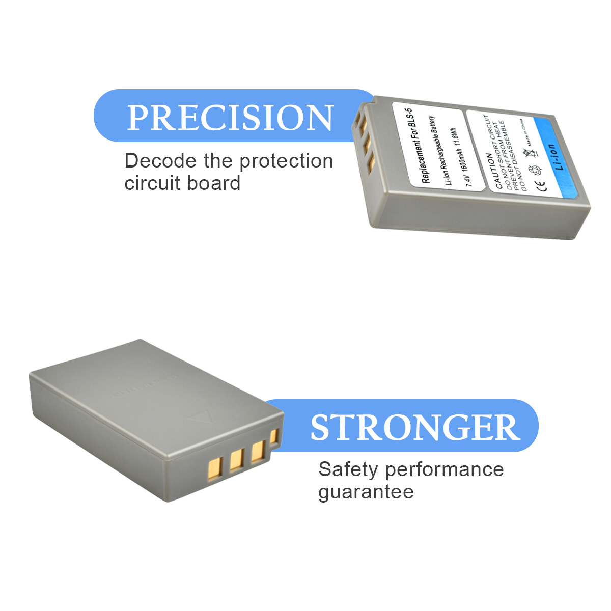 1X PS-BLS5 BLS-5 BLS5 BLS-50 BLS50 Camera Battery for Olympus PEN E-PL2 E-PL5 E-PL6 E-PL7 E-PM2 OM-D E-M10 E-M10 II  Stylus1 L15