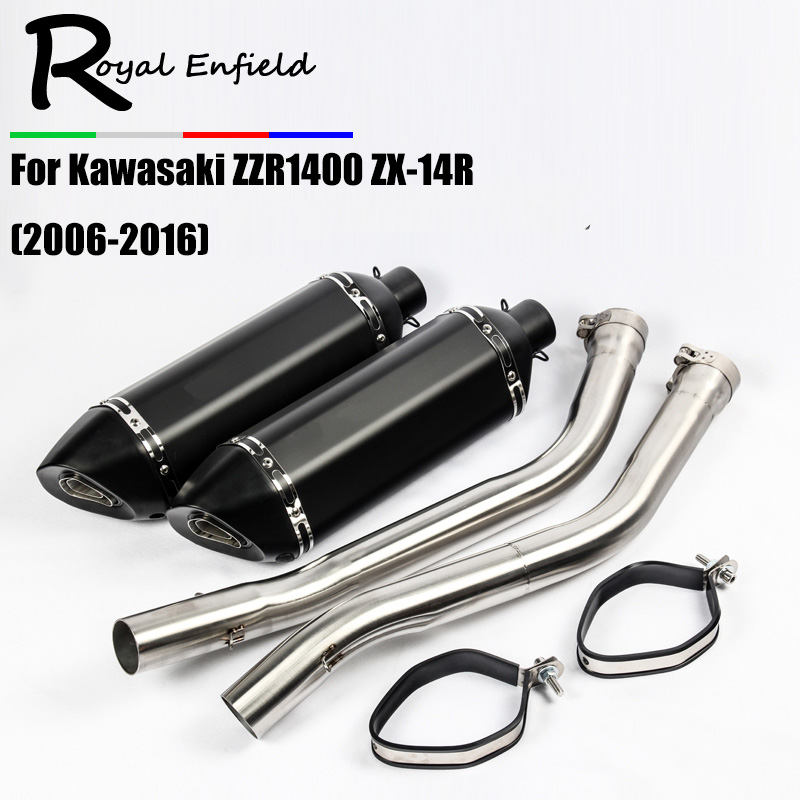 Slip On For ZX14R Motorcycle Exhaust Middle Link Pipe Motorbike Sticker Exhaust Mufller For Kawasaki ZZR1400 ZX-14R 2006-2016 free shipping motorcycle parts engine clutch cover see through for kawasaki zx14r zzr1400 2006 2013 black right