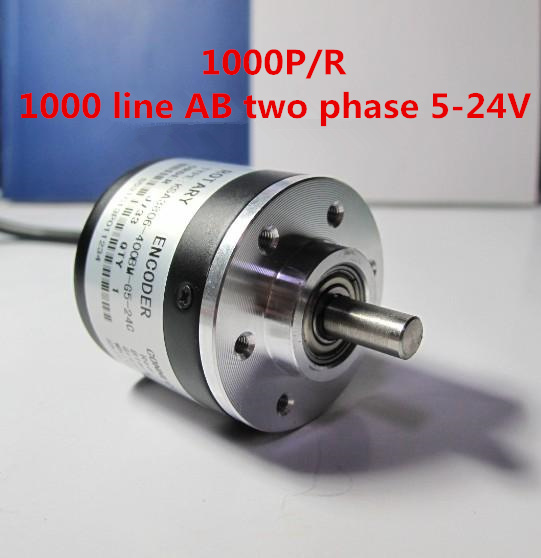 Photoelectric Rotary Encoder 1000 Pulse 1000 Line AB Two Phase 5-24V With Coupling 1000P/R NPN Output Incremental Rotary Encoder