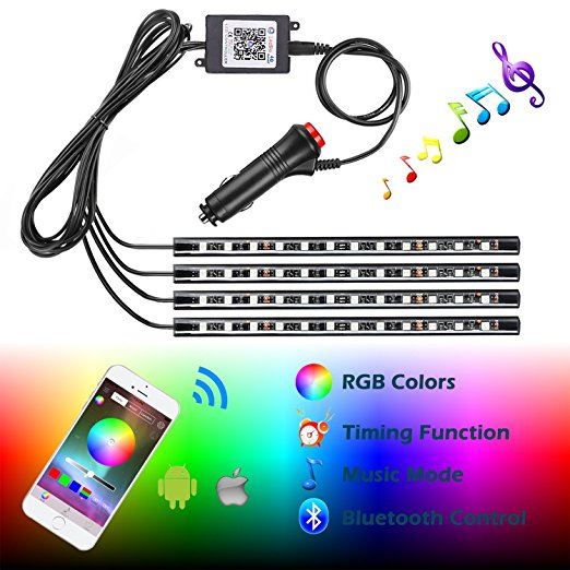 Lackingone Car LED Strip Light,4pcs 48 LED Multicolor Music Car Interior Lights Under Dash Lighting Waterproof Kit with Sound Active Function and Wireless Remote Control Car Charger Included