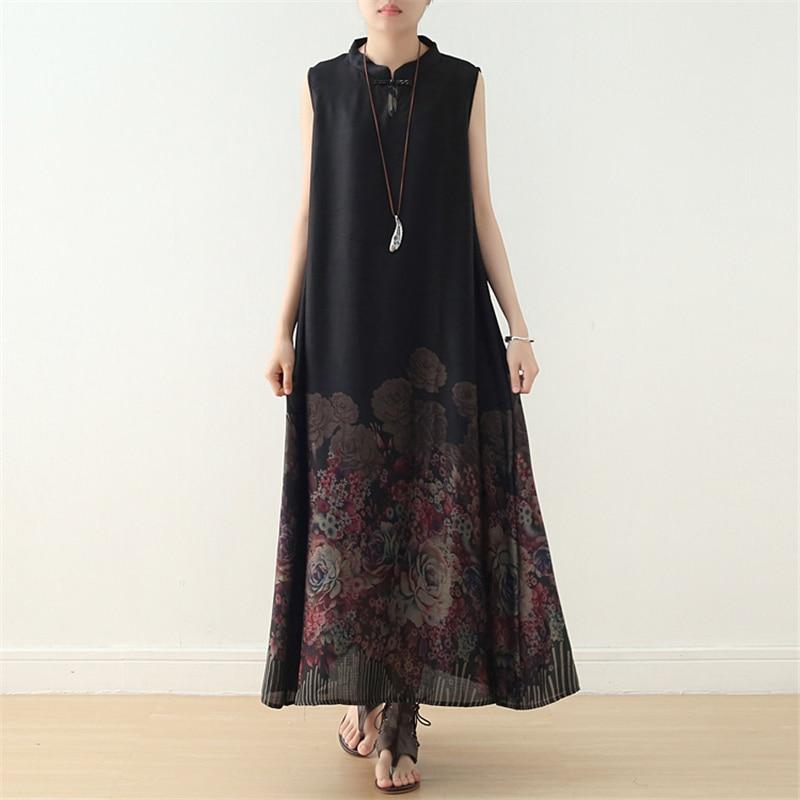 Femmes Style chinois Cheongsam Stand sans manches imprimé Floral 2019 été nouveau Vintage élégant doux femmes robes