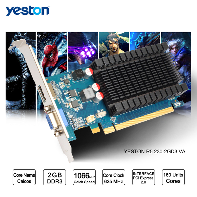 Yeston Radeon R5 230 GPU 2GB GDDR3 64 bit Gaming Desktop computer PC Video  Graphics Cards support VGA/HDMI PCI E X16 2 0-in Graphics Cards from