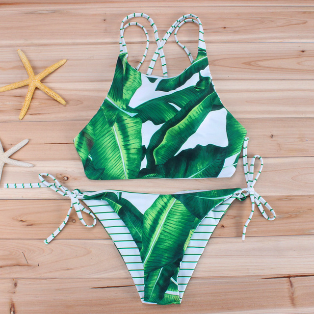 88d67cdaf2 Green Leaf Bikini 2018 Reversible Swimwear Women Crop Top Swimsuit Bandage  Biquini Striped Bikinis Set Brazilian