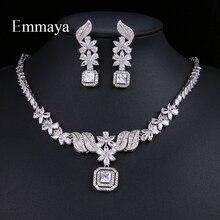 Emمايا مميزة النساء لامعة زي مكعب الزركون مجموعات مجوهرات الزهور قلادة و قلادة أقراط الزفاف