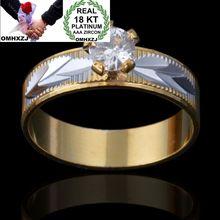 OMHXZJ Wholesale Personality Fashion OL Woman Girl Party Wedding Gift Gold White AAA Zircon 18KT Yellow Gold Ring Set RN106 цена и фото