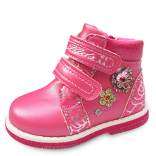 NEW 1pair flower Leather Children Boots Ankle sport girl Sneakers Autumn Kids Baby Sneakers