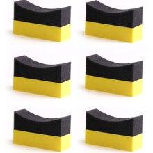 6Pcs Tire Contour Dressing Applicator Pads Gloss Shine Color Polishing Sponge Wax