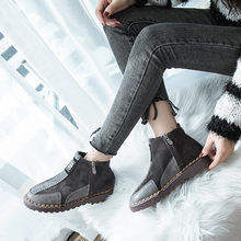 2018 bota feminina KLV Women Flat Round Toe Suede Shoes Comfortable Soles Zipper Keep Warm Shoes botas mujer zapatos ladies #6(China)